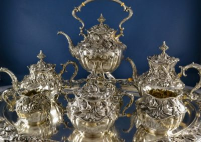 Gorham Whiting Sterling Silver Nouveau Tea Set