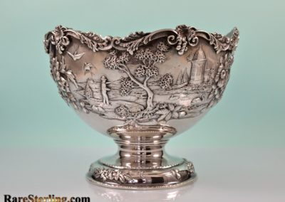 Kirk And Son Sterling Silver Castle Landscape Footed Punch Bowl