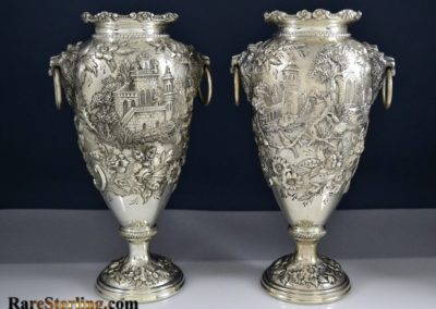 Kirk And Son Sterling Silver Castle Landscape Vases