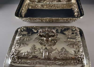 Kirk And Son Sterling Silver Landscape Castle Covered Vegetable Dish