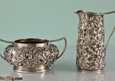 Kirk And Son Sterling Silver Repousse Demitasse Sugar And Creamer