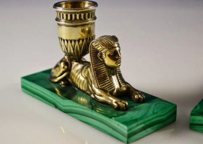 Odiot Sterling Silver Sphinx Candle Holders