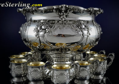 Reed and Barton Francis Sterling Silver Punch Bowl Set With Cups